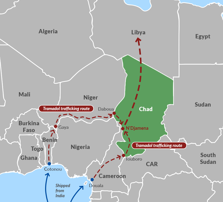 Tramadol trafficking routes through Chad to Libya